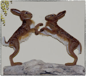 Needle-Felted-March-Hares-Boxing-Hares-Lievres-OOAK-now-sold-example-only