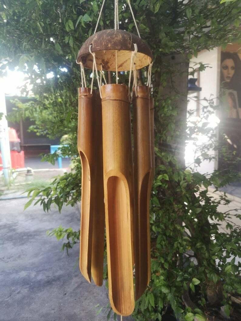 Large Handmade Bamboo Wind Chimes Outdoors & Indoors, Deep tunes - 6 Bamboo Tube