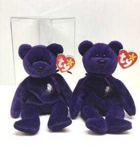 3799720499d 2 Rare Princess Diana Purple Bear Ty Canada 1997 Beanie Babies
