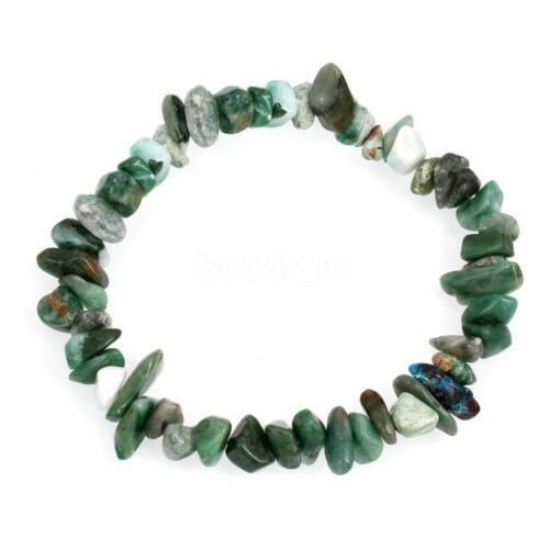 66 A Gemstone crystal Chip Perles Stretch Cadeau Charme Reiki Guérison Bracelet Group