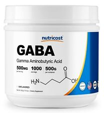 Nutricost Pure Gaba 500g Powder Gamma Aminobutyric Acid 500 Grams 1.1 Pounds