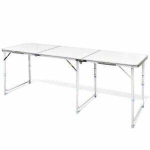 vidaXL Tavolo Campeggio Alluminio Altezza Regolabile Tavola Pieghevole Viaggio
