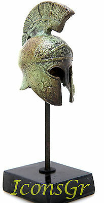 Ancient Greek Warrior/'s Helmet Miniature Oxidised Bronze