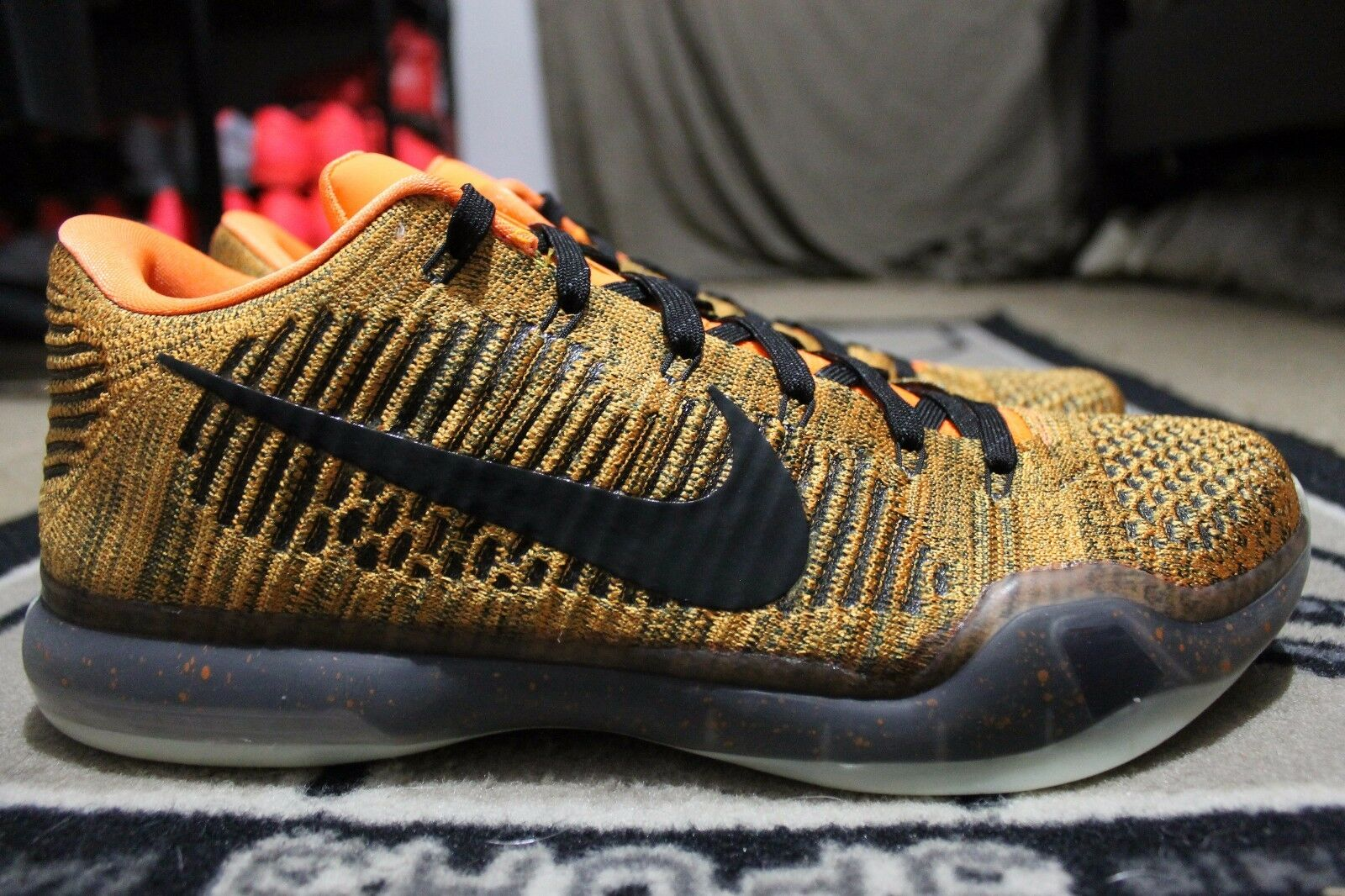 NEW Nike iD Kobe 10 X Elite Flyknit SZ 13 orange Black Glow in The Dark
