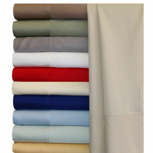 US King Size 4 PC or 6 PC Sheet Set 1200 Thread Count Egyptian Cotton Solid