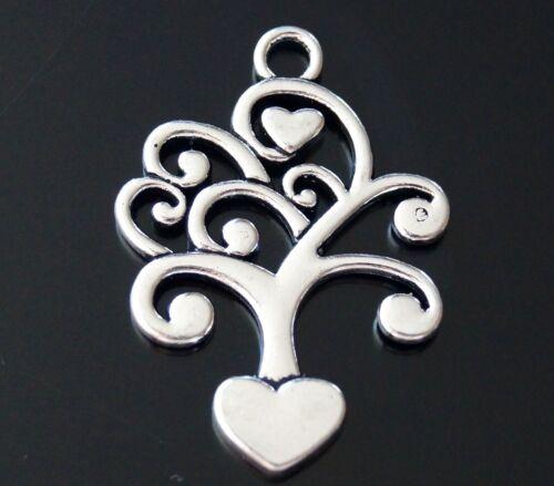 1 2 5 Familia árbol de la vida Corazones tibetano plata encanto colgante 40mm TSC45