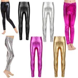 Kid Girl Shiny Metallic Pants Gymnastic Dance Skinny Leggings  Stretchy Trousers