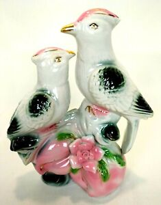 Vintage-Pair-Birds-Figurines-Ceramic-Cockatiels-Parrot-Porcelaine-Pink-Green-8-034-H