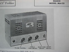 MASCO MA-121 TUBE AMP AMPLIFIER PHOTOFACTS PHOTOFACT