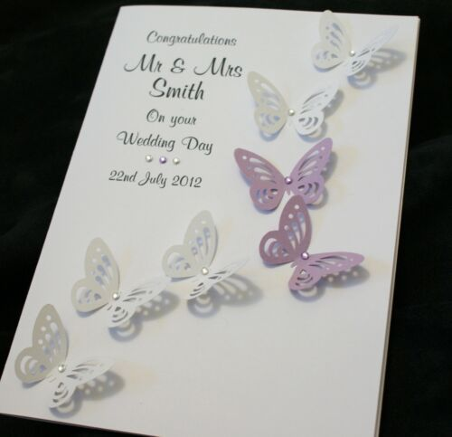 LARGE Handmade Personalised BUTTERFLIES Congratulations Wedding Card