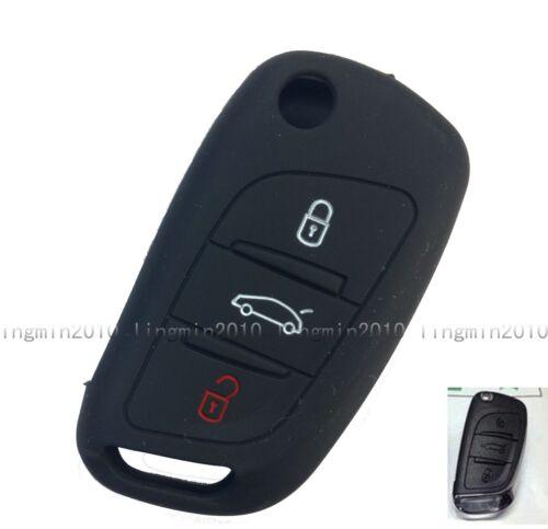 3 BTN Black Silicone Cover Smart Key Case Holder Citroen DS4 DS5 C2 C3 C4 C5 C8