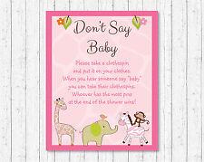 Safari Girl Pink Jungle Animals Dont Say Baby Baby Shower Game Printable