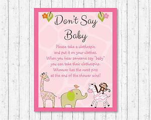 Safari Girl Pink Jungle Animals Dont Say Baby Baby Shower Game