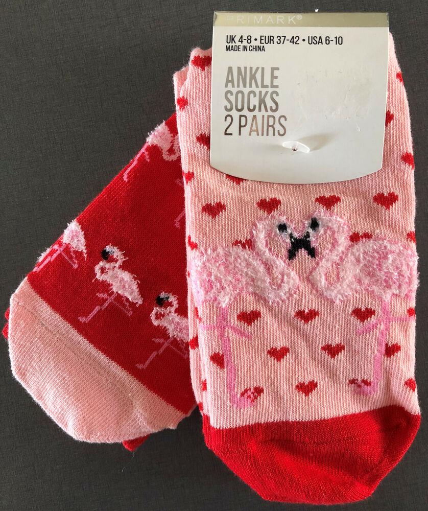 2 Paire Flamingo Femmes Chaussettes Chaussettes Brièvement Animal Cœur Rouge Rose 37-42 Primark