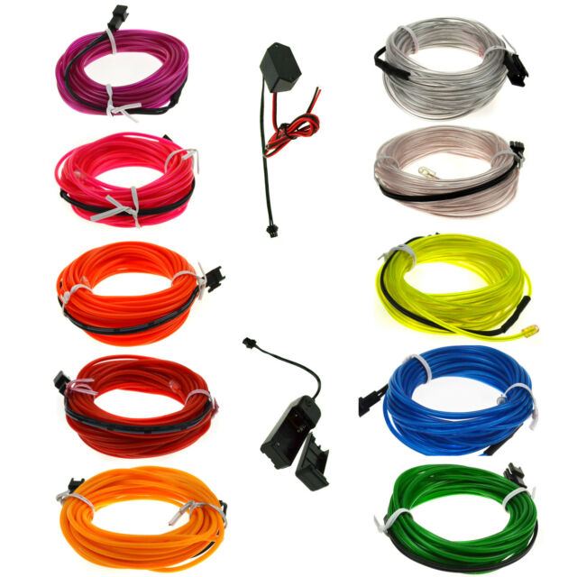 Led EL Wire Tube Rope Flexible Neon Glow Car Party Decor Light+3V/12V controller