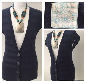 Fat Face Sz 14 Navy Blue Wool Blend Cardigan Deep V-Neck Short Slv