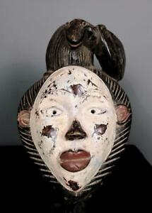 Old Tribal Anang Mask With Carved Snake    ----  Nigeria BN BN 25
