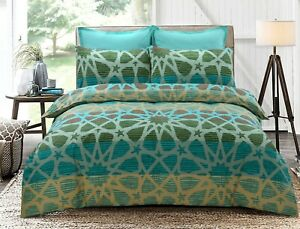 Oasis Doona Duvet Quilt Cover Queen Size With Pillowcases Set Cotton Blend