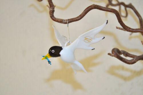 Neu weiß-schwarz Handarbeit Glastiere Glasfigur Glasvogel Möwe mit Fisch