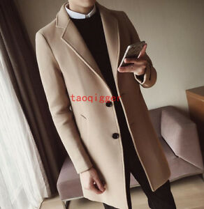 US Womens One Button Jacket Slim Wool Blend Coat Trench Overcoat Peacoat Outwear