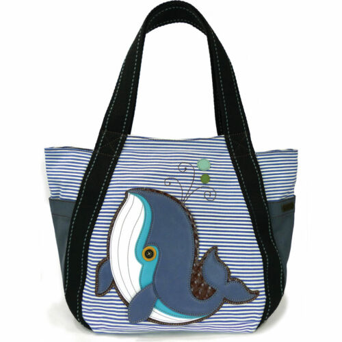 Chala Blue Strip Canvas Carryall Tote Bag with Blue Whale Print 833-Cat