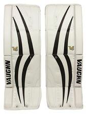 """New Vaughn 1100 Sr ice hockey goal leg pads 32""""+2 Black/White Velocity V6 goalie"""