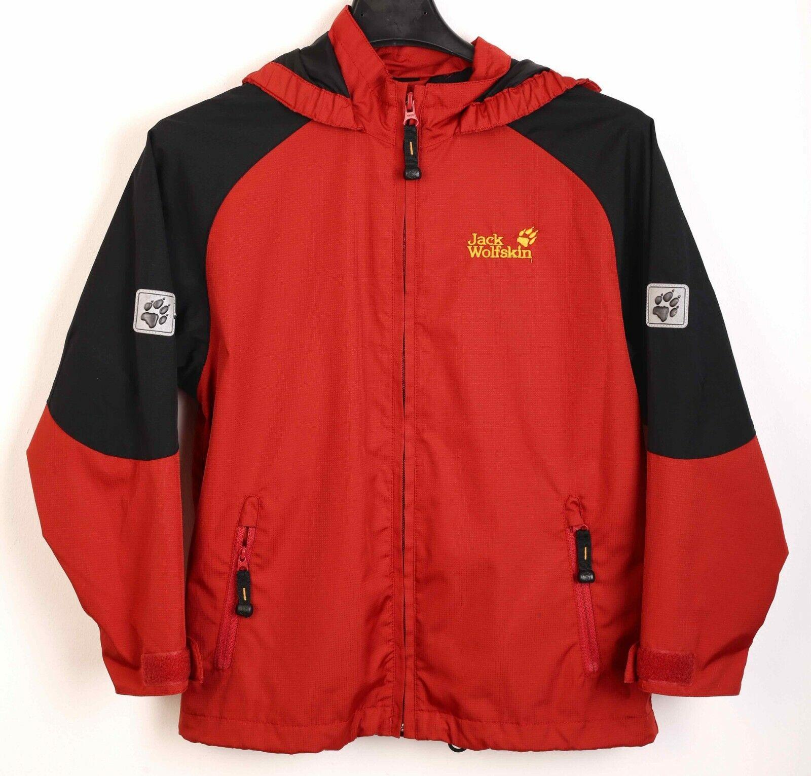 Jack Wolfskin Family KIDS Rain Jacket Hooded Coat Windbreaker RA04h