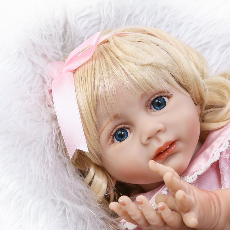 24  lunghi capelli biondi Baby Toys in silicone VINILE Reborn Bambino Doll ragazza realistici