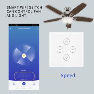 EU PLUG WIFI Smart Ceiling Fan Control Wall Switch Touch Panel For ...
