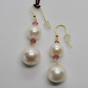 Yellow-Gold-Earrings-18K-750-Pearls-Water-Dolce-Tourmaline-Pink-Made-IN-Italy