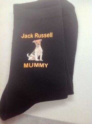 GIFT BAG JACK RUSSELL MUMMY TERRIER PRINTED SOCKS BIRTHDAY PRESENT MUM LADIES