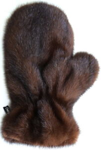 Mink Glove Fur Massage Wellness Streichel Fitted Long D.Brown