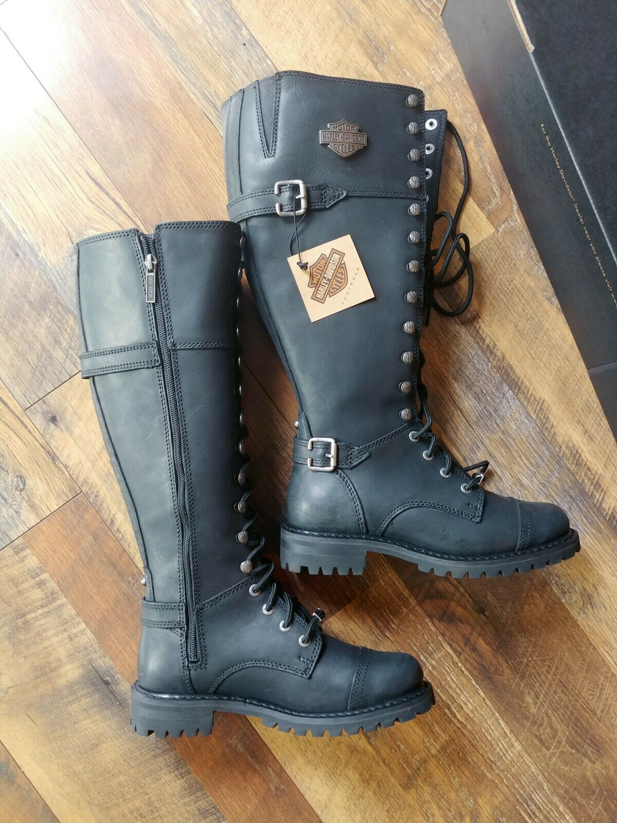 Harley-Davidson Women 6m Beechwood black hi boot 16  lace & cap toe motorcycle