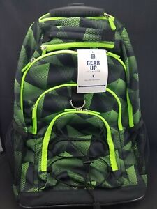 NWT Pottery Barn PB Teen Gear Up backpack /& lunch box gray /& neon green static
