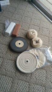 NOS-Coarse-amp-Fine-Metal-Polishing-Compound-Bars-W-Buffing-Wheels-Grinding-Wheel