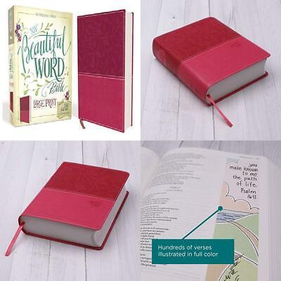 Niv Beautiful Word Bible Large Print Leathersoft Pink 500 Full Color 9780310446071 Ebay