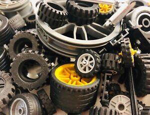 LEGO-Bulk-lot-WHEELS-50-pieces-Tires-Axles-Lots-of-Parts-Pieces