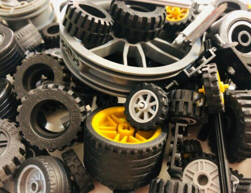 LEGO Bulk lot WHEELS 50 pieces Tires Axles Lots of Parts Pieces