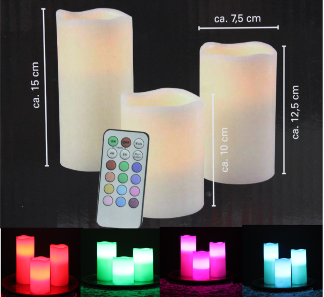 LED Echtwachs Kerze mit Fernbedienung Farbwechsel Timer Wachskerze Flackernd NEU