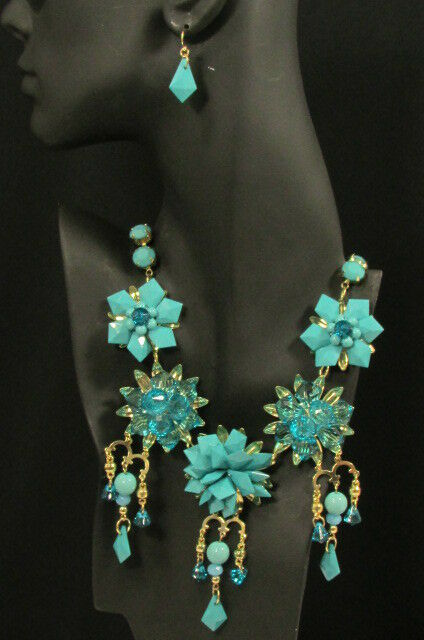Women Fashion Bib Necklace  Earrings Set Trendy Beads Flowers Gold Metals Chains