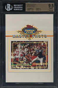 1993-Stadium-Club-5x7-Master-Photo-Bruce-Smith-Gem-Mint-BGS-9-5-Buffalo