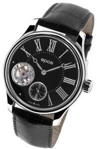 Epos-Swiss-Men-039-s-Watch-Black-Leather-Automatic-Wrist-Watch-3369