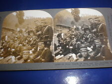 Stereoview photograph Russia Japan war Japanese troops lunch Keystone c1904 - 05