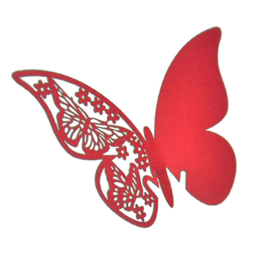 50X Table Mark Wine Glass Cards Favor Butterfly Name Place Party Wedding、ÁÁ