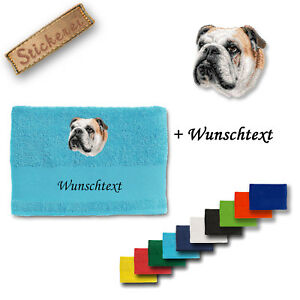 Hunde Wunschtext Seien Sie In Geldangelegenheiten Schlau Körper- & Fellpflege Praktisch Englische Bulldogge M1 Handtuch Duschtuch Baumwolle Stickerei