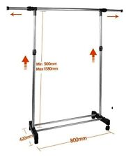 NEW Adjustable Single Clothes Rail with Extendable Rail & Shoe Rack
