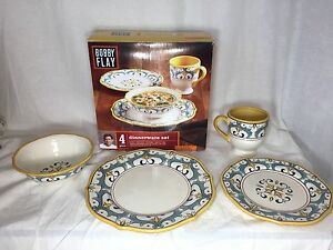 Image is loading 4-PC-BOBBY-FLAY-DINNERWARE-SET-CAPRI-COLLECTION- & 4 PC BOBBY FLAY DINNERWARE SET - CAPRI COLLECTION - NEW | eBay