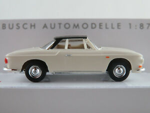 Busch-45816-VW-Karmann-Ghia-1600-Coupe-1961-en-crema-blanco-negro-1-87-h0-nuevo-en-el-embalaje