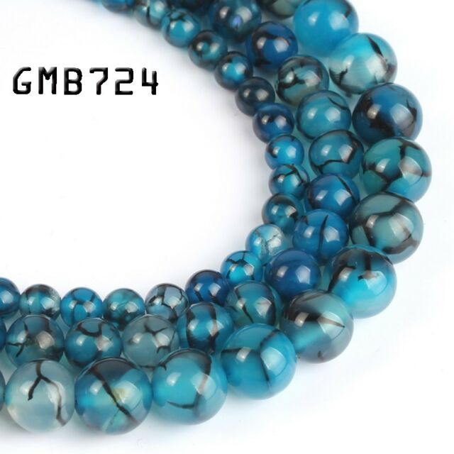 4//6//8//10mm Natural Dragon Veins Agate Onyx Gemstone Round Loose Beads 15/'/'