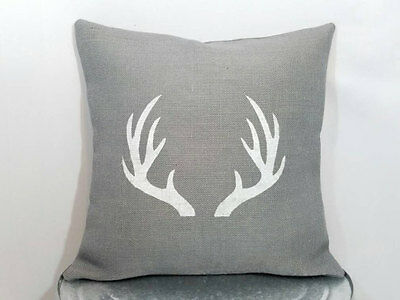 16x16 Insert Included Deer Stag Head Burlap Pillow